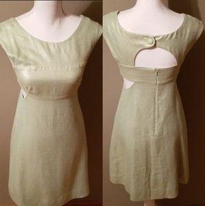 Anthro Maeve-Light Green Metallic Dress
